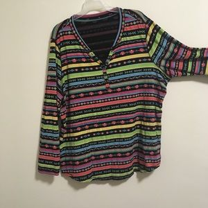 2/$20 Relativity Rainbow Henley Roll-up Shirt 3X